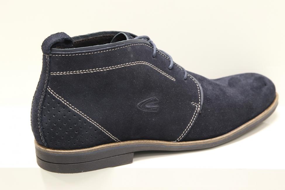 655b9d6803486 Pánske elegantné tmavo modré topánky z brúsenej kože - MojaObuv