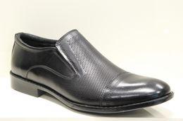 Pánske eleganté čierne kožené mokasíny s perforovaním 81ff761e06e